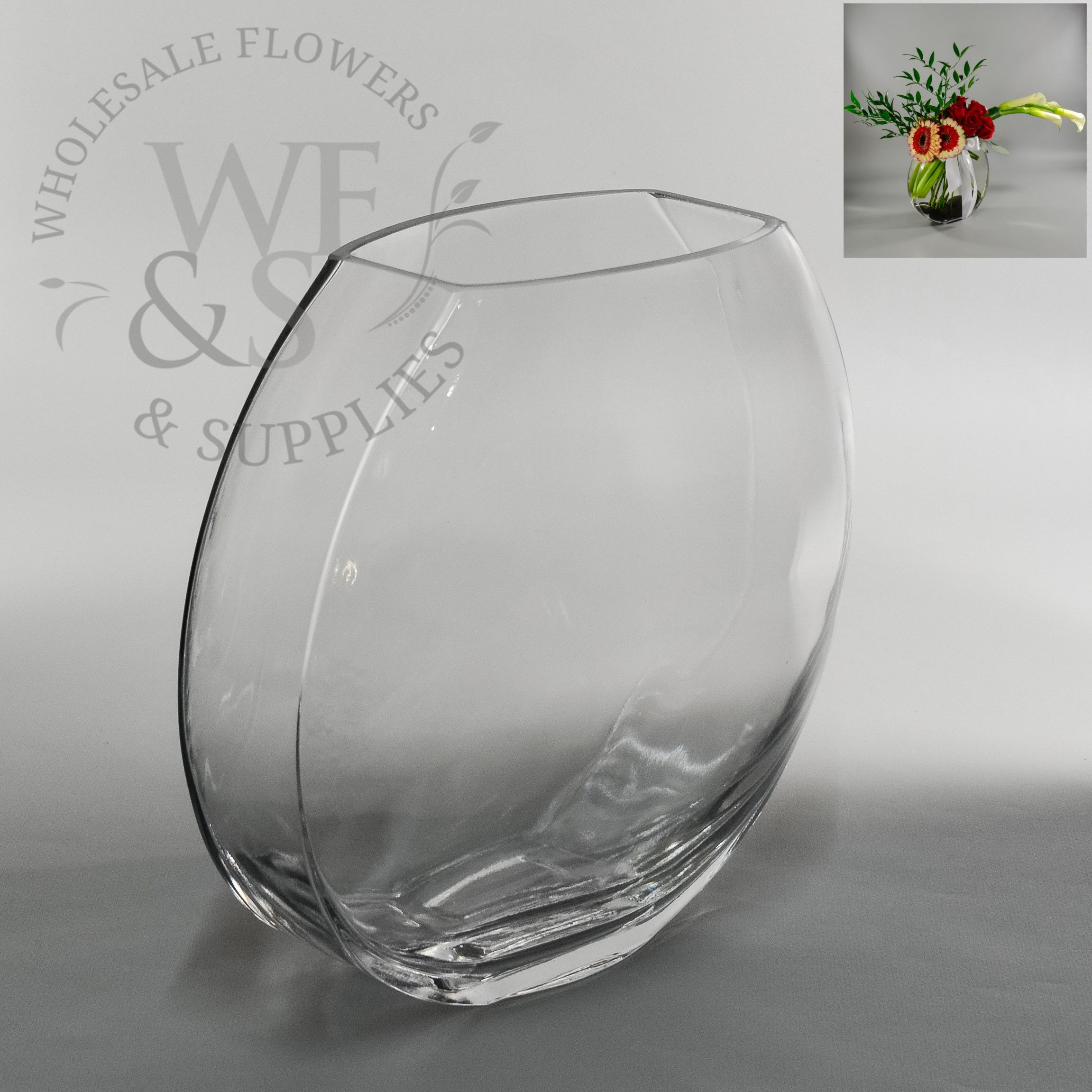 Flat sided fish bowl 9 tall wholesaleflowersandsupplies tall flattened oval glass vase wholesale flowers and supplies reviewsmspy
