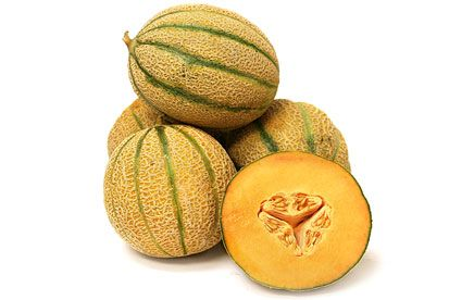 French Kiss Melon - French Kiss® melons are a petit-sized melon with a thin rind. Their exterior resembles a cross between a Tuscan Cantaloupe and a regular Cantaloupe, with a much less pronounced striping than the typical Tuscan variety. When ripe, the rind turns straw-green in color. The orange flesh is succulent, dense, fragrant, creamy and sweet with a small tight central seed cavity. French Kiss® melons score thirteen to seventeen percent on the Brix scale, the commonly used method of…