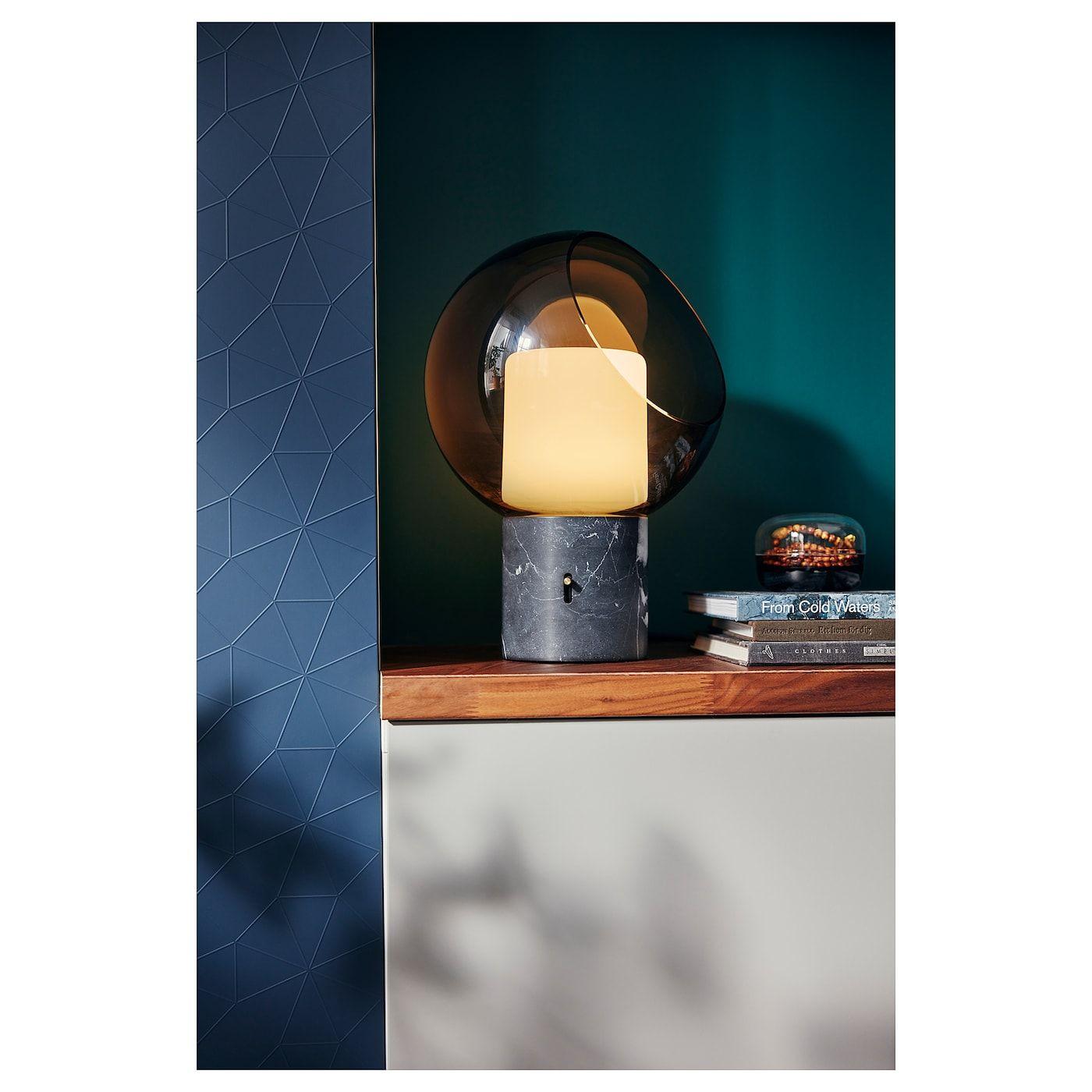 IKEA EVEDAL Table lamp marble gray, globe gray | Grey