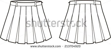 Illustration of women's skirt. Front and back views. Raster version - stock photo