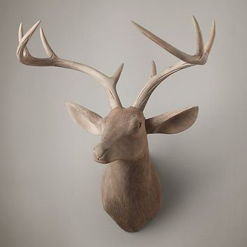 Hand-Carved Wood Wood Stag Trophy Head Right Facing