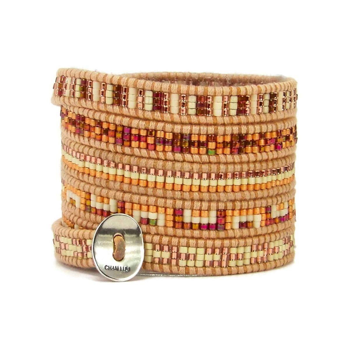 Chan luu rose gold mix design seed bead multi wrap silver bracelet