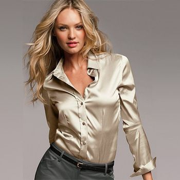 spring 2014 satin blouse S-XXXL long-sleeved button solid Formal ...
