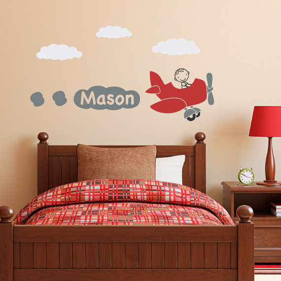 Airplane Wall Decal With Personalized Boys Name Plane Wall - Vinyl wall decals airplane