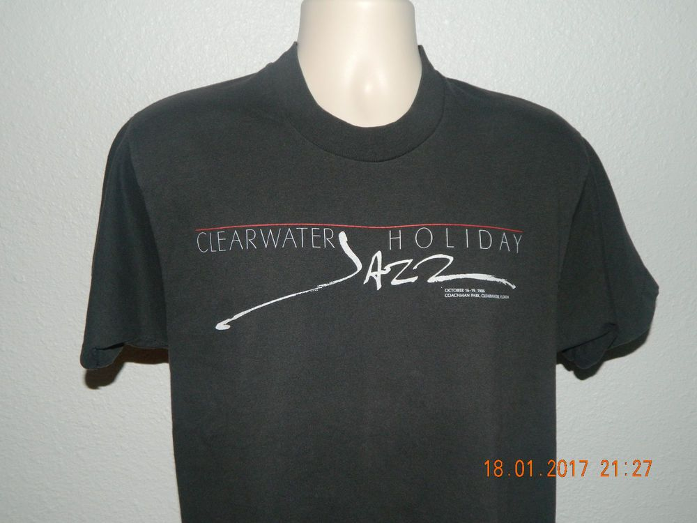 Vintage 1986 Clearwater Jazz Holiday T Shirt Screen Stars 50/50 Black Large  #ScreenStarsBest #GraphicTee #Casual