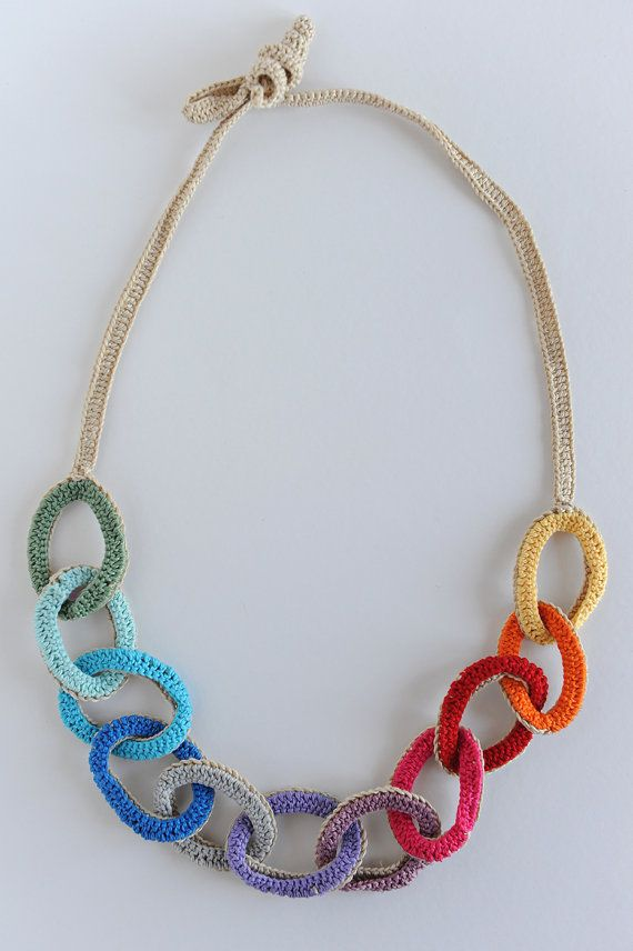 Fabric necklace Cotton necklace Multicolors Beige | Pinterest ...