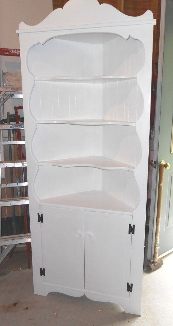 Tall White Wood Corner Cupboard, 4 Display Shelves W/ Cabinet - Corner Cabinet White Dwight Designs