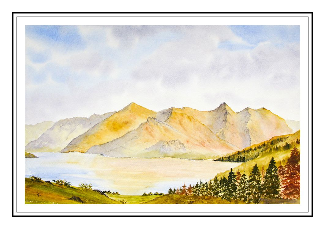 Painting of The Five Sisters of Kintail from Mam Ratagan, Scottish ...