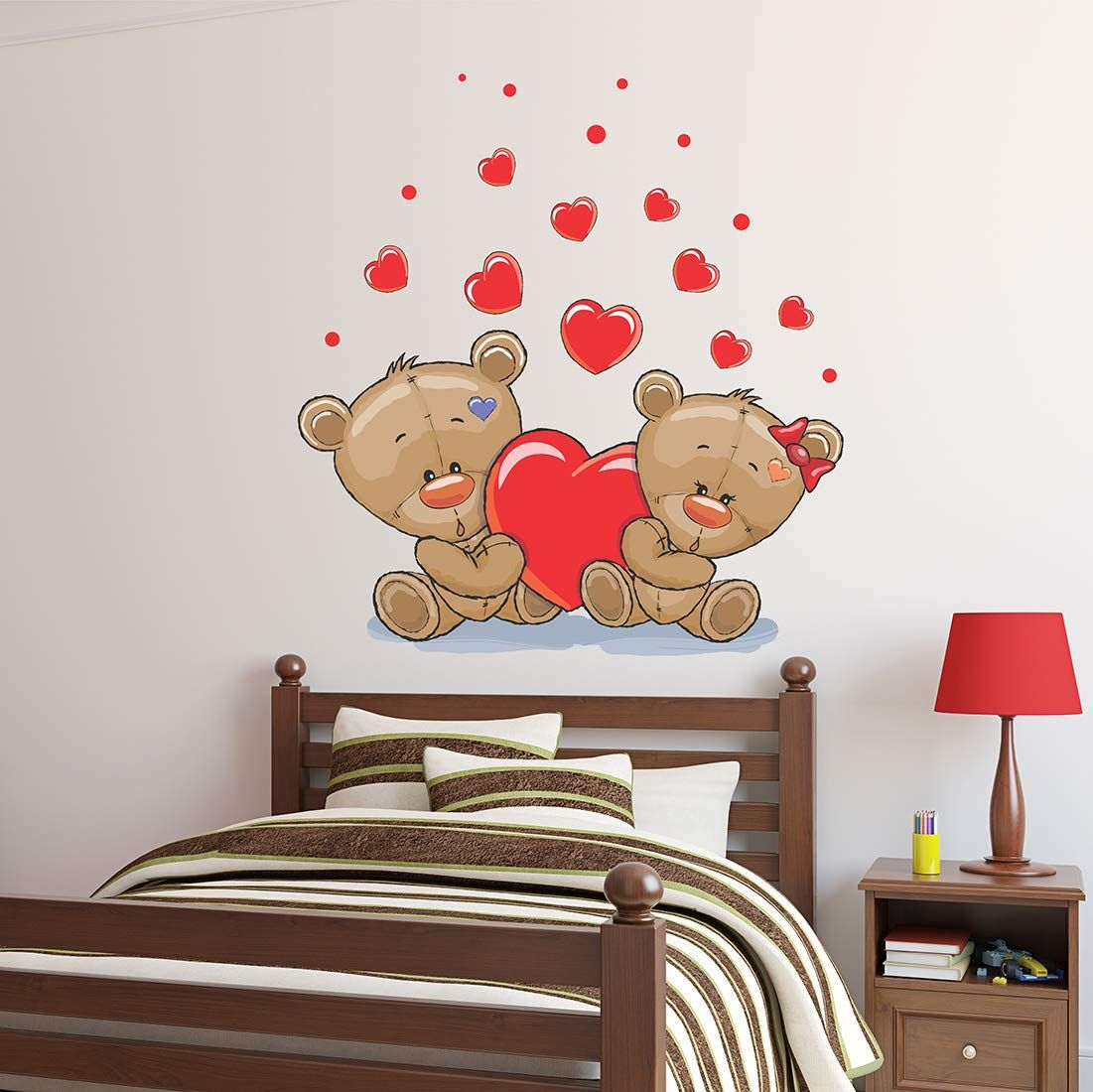 Wallstick Love Teddy Couples wallstickers (Vinyl 60 cm x