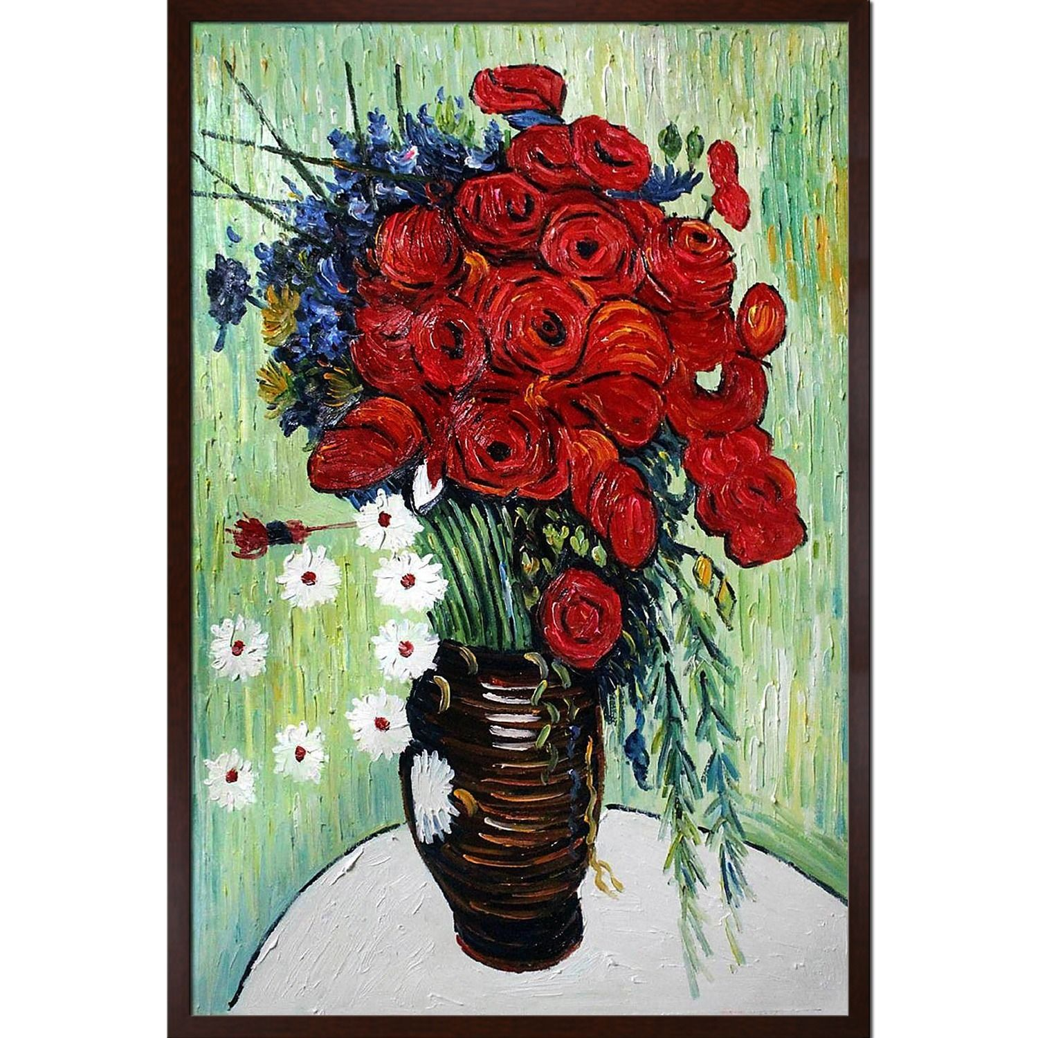 Van Gogh \'Vase with Daisies and Poppies\' Hand-painted Framed Canvas ...