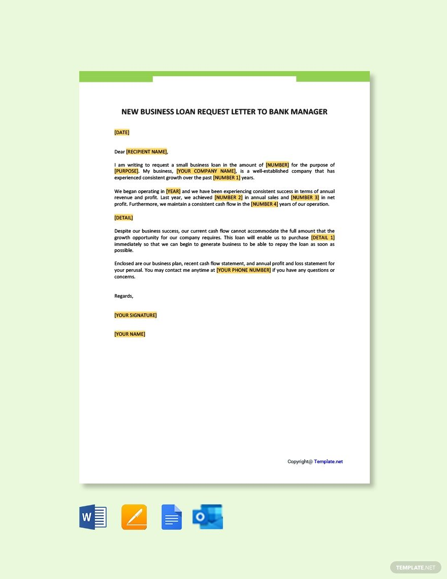 Free New Business Loan Request Letter To Bank Manager Template Word Google Docs Apple Pages Outlook Business Plan Template Business Loans Lettering