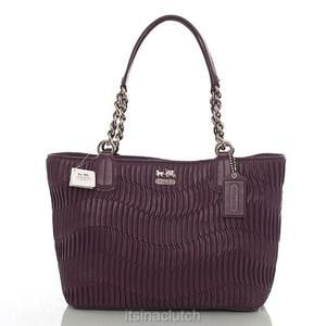 Authentic Coach 20522 Madison Aubergine Pleated Leather Tote Bag Ebay