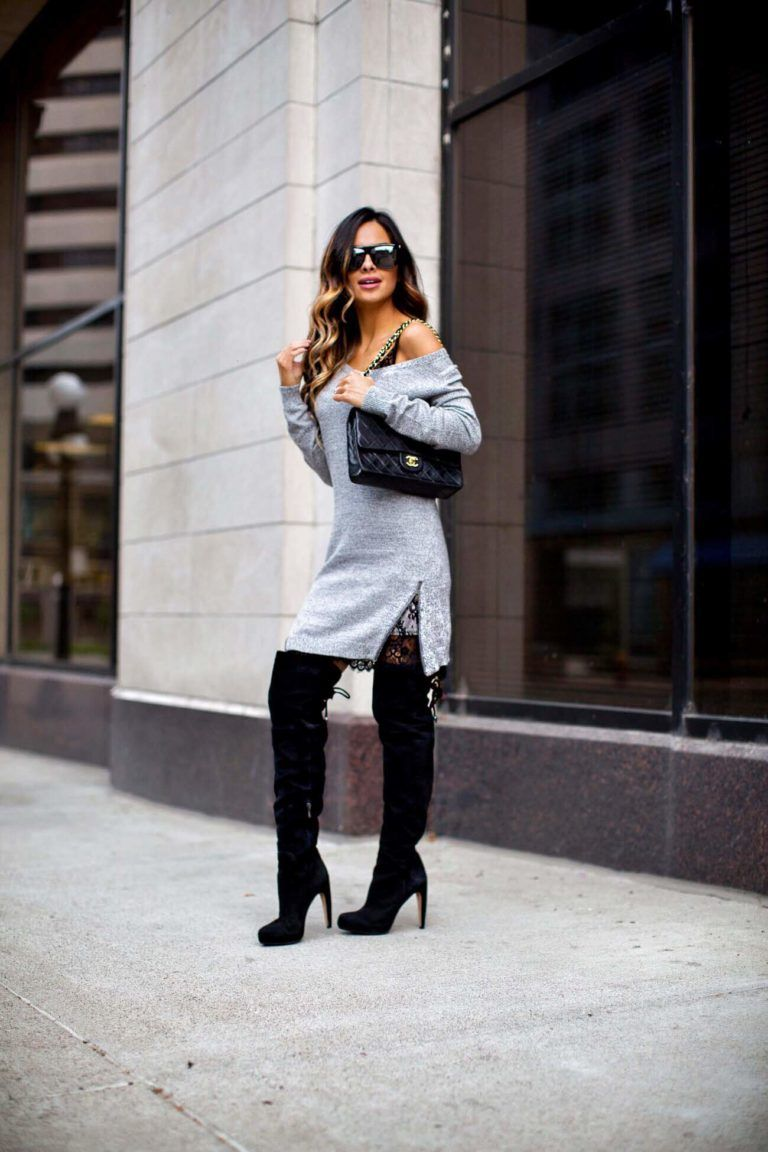 4070ccb32faa fashion blogger mia mia mine wearing a gray sweater dress and black  over-the-knee boots from nordstrom
