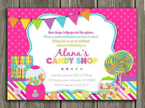 printable candy birthday invitation sweet shop invite candy