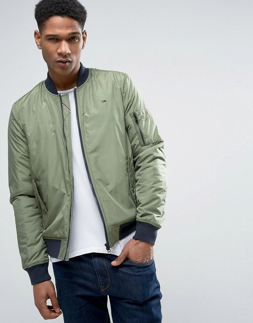 55d97d827d706 TOMMY JEANS TOMMY HILFIGER DENIM BOMBER JACKET PADDED NYLON IN GREEN -  GREEN.  tommyjeans