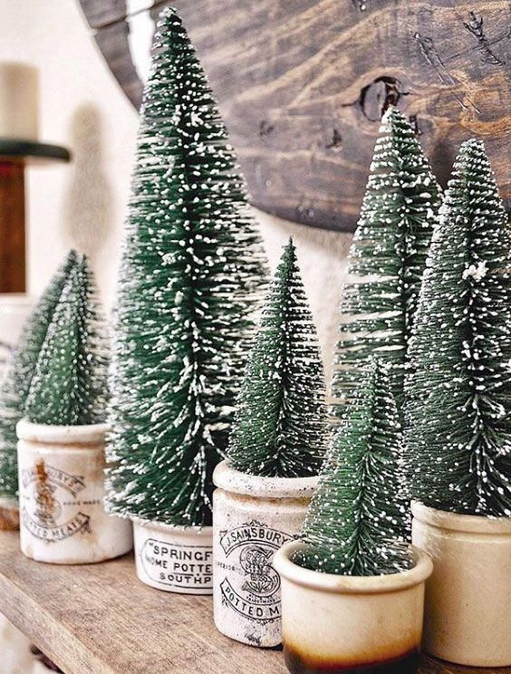 Bottlebrush Trees Vintagechristmas In 2020 Farmhouse Christmas Tree Christmas Tree Decorations Rustic Christmas