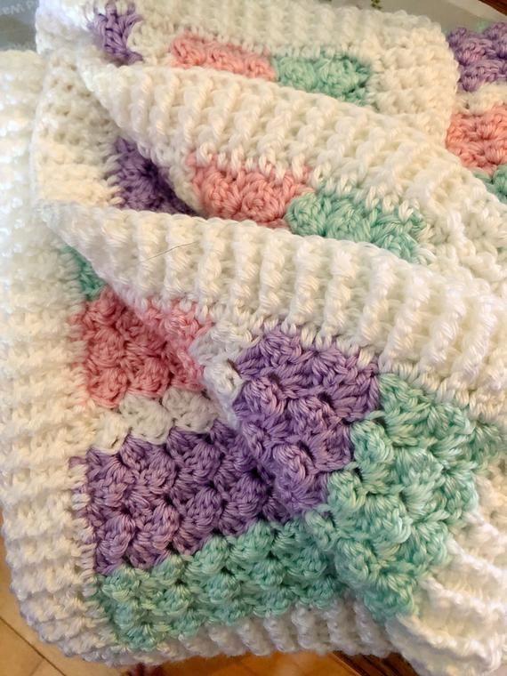 Crochet Textured Baby Blanket in Pastel, crochet throw Crochet Pattern