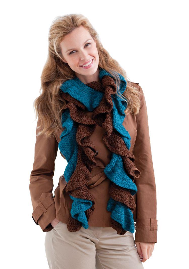 Red Heart® Soft® Double Your Ruffles Crochet Scarf #crochet #pattern ...