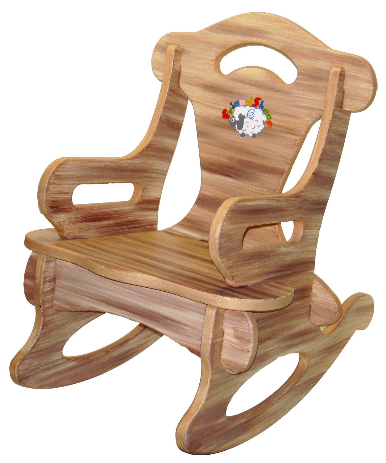 Nursery Wooden Rocking Chair Brown Puzzle Rocker Rocking Chair Solid Wood For Kid Child Baby
