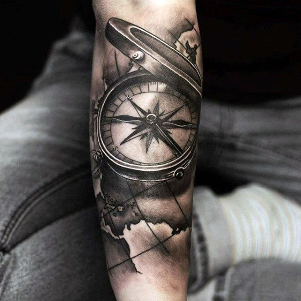 bd4d0dd0e 3d Reaistic Compass With Map Black And Grey Shaded Forearm Sleeve Tattoos  For Men