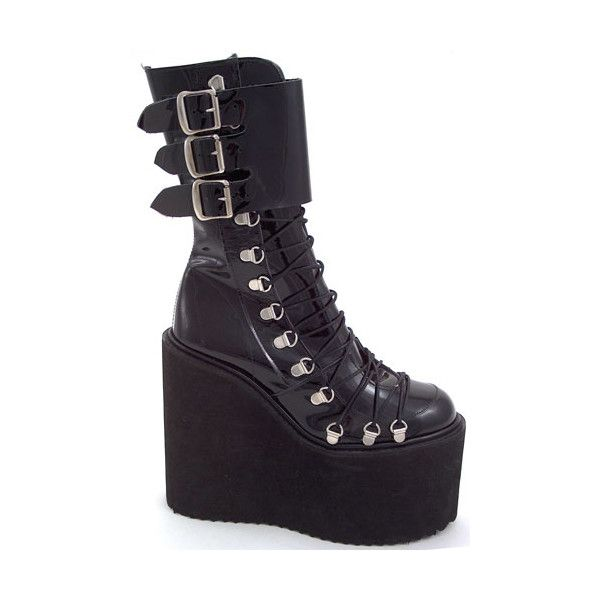 Pennangalan - Gothic and Fetish Shoes and Boots ($26) ❤ liked on Polyvore featuring shoes, boots, ankle booties, gothic boots and goth boots