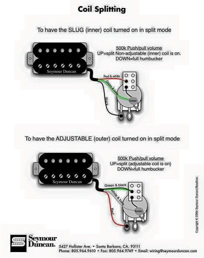 inner or outer coil split wiring diagram guitars pinterest rh pinterest com 2 Humbucker Wiring Diagrams Push Pull Split Coil Installation