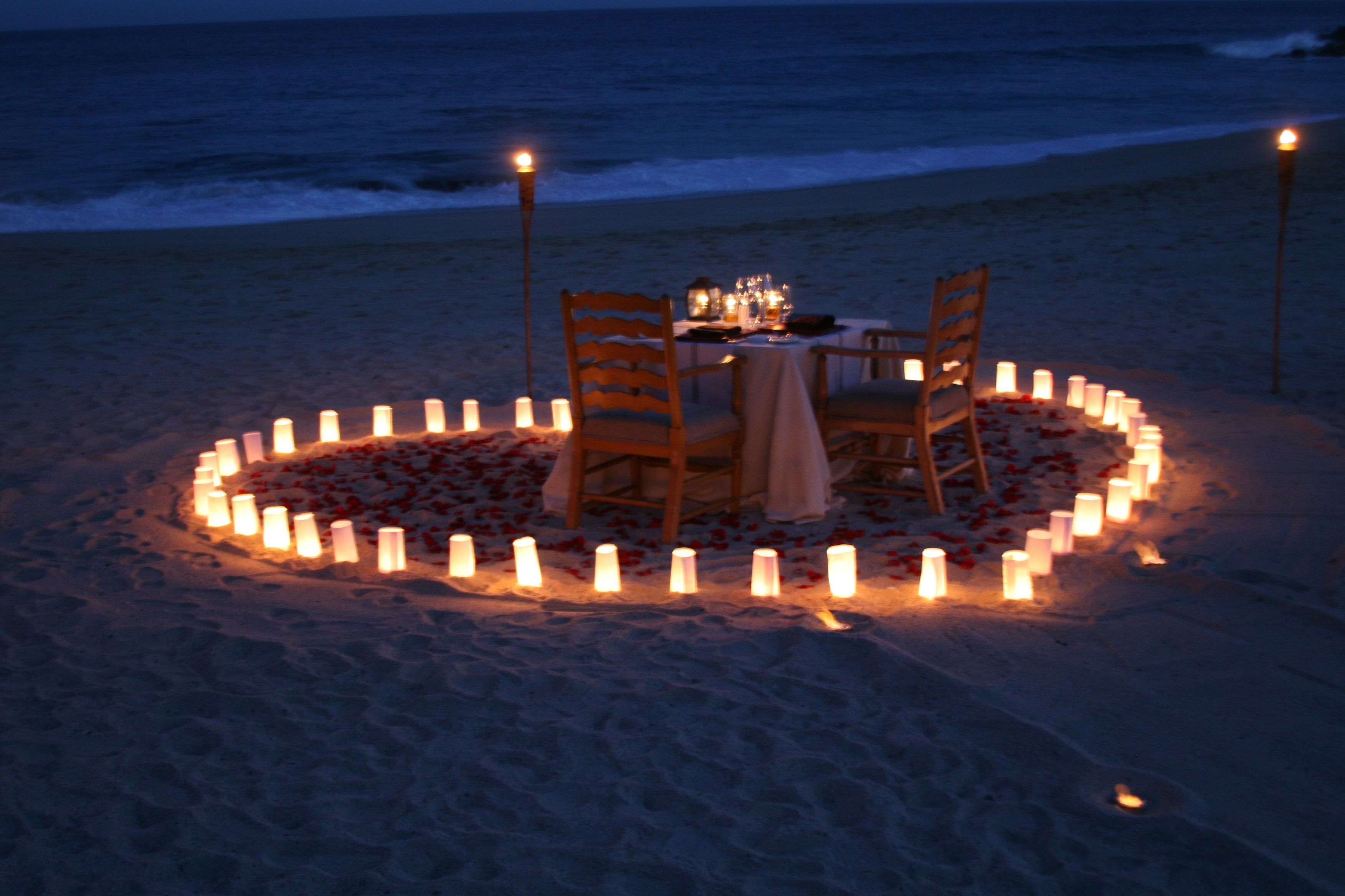 Happily Ever After by Hilton Los Cabos | Candle light dinner, Romantic  dinner setting, Beach dinner