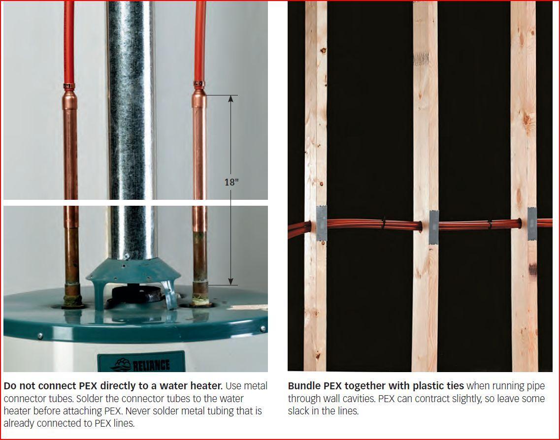 pex to water heater and bundles through stud framing (photo