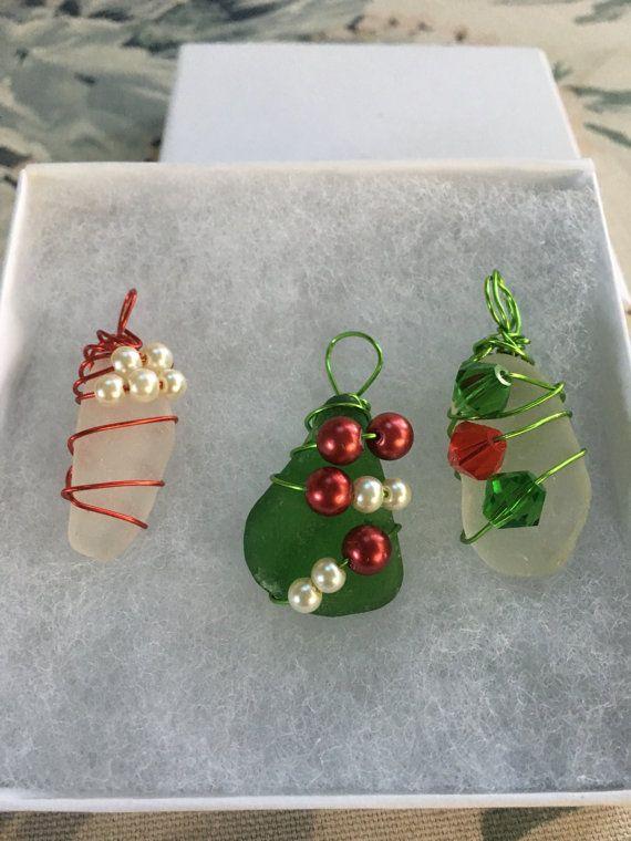 Christmas Beach Gl Ornaments Sea Ornament Set Of 3