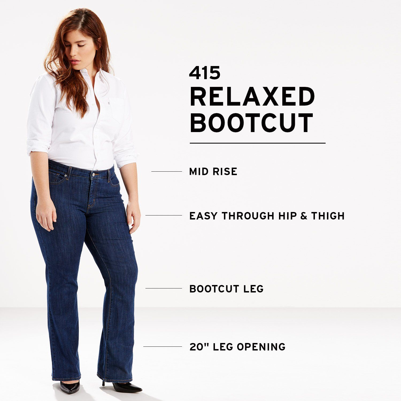 2a6ba57627d01 Levis Womens PlusSize 415 Classic Bootcut Jeans Storm Rider 38 US 18 S