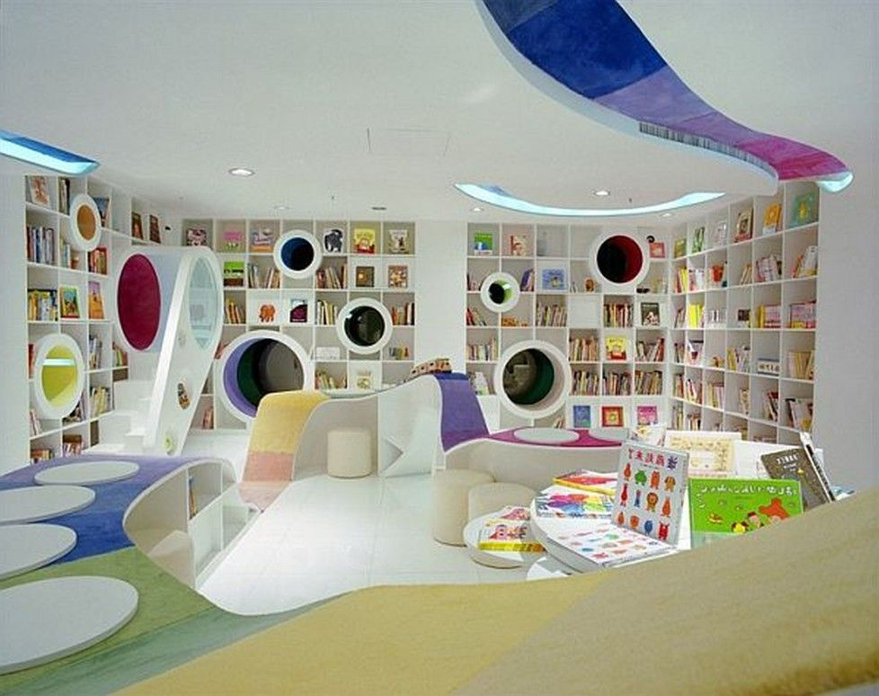 Download Modern Contemporary Kids Play Room And Study Room Design With  Creative Built In Bookshelves Unique
