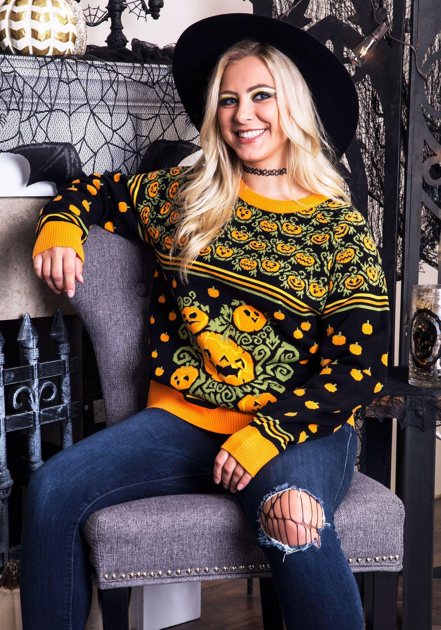 Pumpkin Patch Halloween Sweater for Adults Halloween