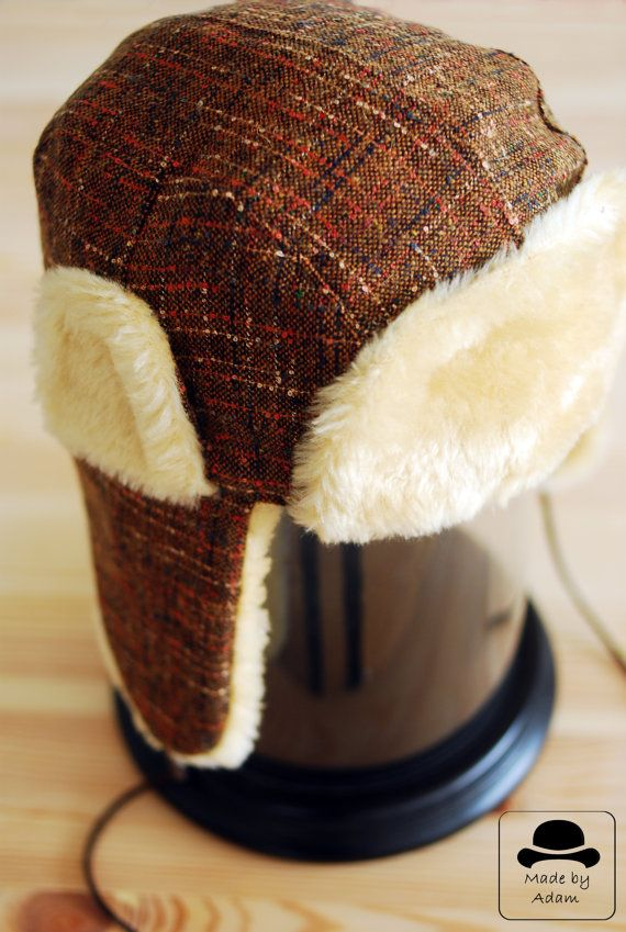 Hey, I found this really awesome Etsy listing at https://www.etsy.com/listing/169633171/aviator-hat-brown-cotton-trapper-hat