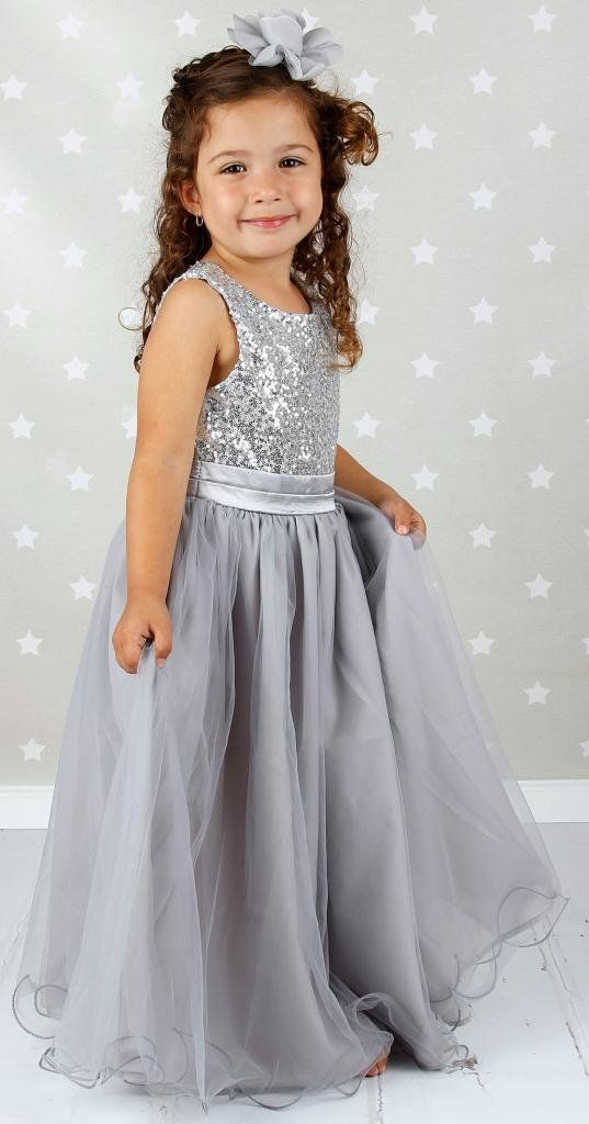 3f1ca69fea Bow Dream Flower Girl s Dress Sequins Tulle Silver 4T