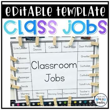 Class Jobs Template Editable Classroom Job Chart Class Jobs