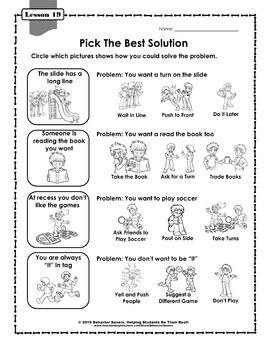 Second Step Kindergarten 24 Lesson Worksheets Teaching Social Skills Study Skills Worksheets Social Skills For Kids Behavior worksheets for kindergarten