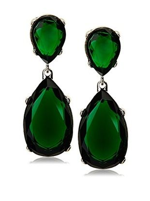 Kenneth Jay Lane Faux Emerald Drop Earrings Silver Hoop