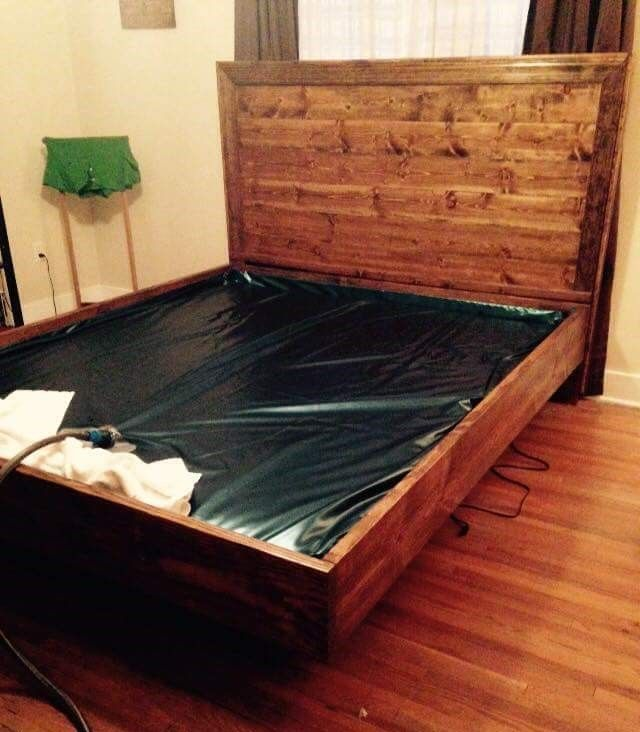 Planked headboard waterbed build do it yourself home for Do it yourself headboard ideas