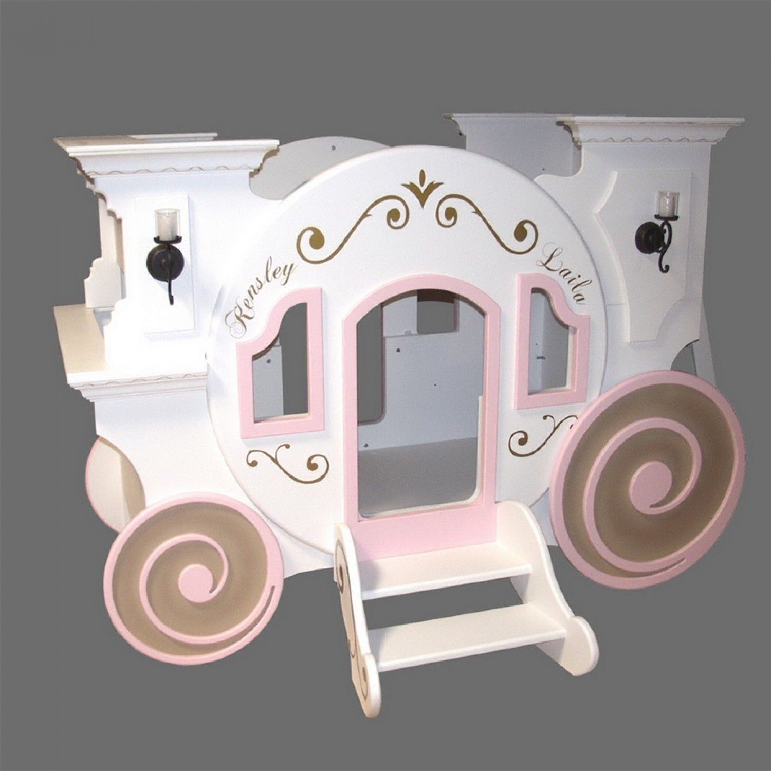 Bunk beds for girls with slide and desk - Cinderella Princess Carriage Bunk Bed By Tanglewood Design