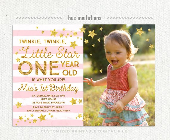Twinkle Little Star First Birthday Invitation For Girl With Photo Pink Gold Glitter Birthda