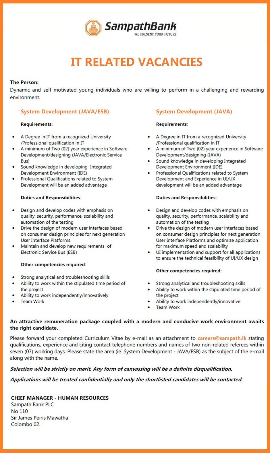 It Related Vacancies At Sampath Bank  Career First  It Jobs
