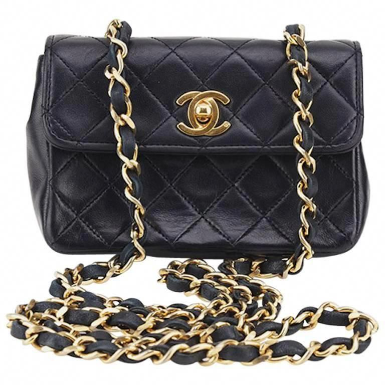 c64c7fb04526 Chanel Black Quilted Lambskin Mini Flap Shoulder Bag | 1stdibs.com  #Chanelhandbags
