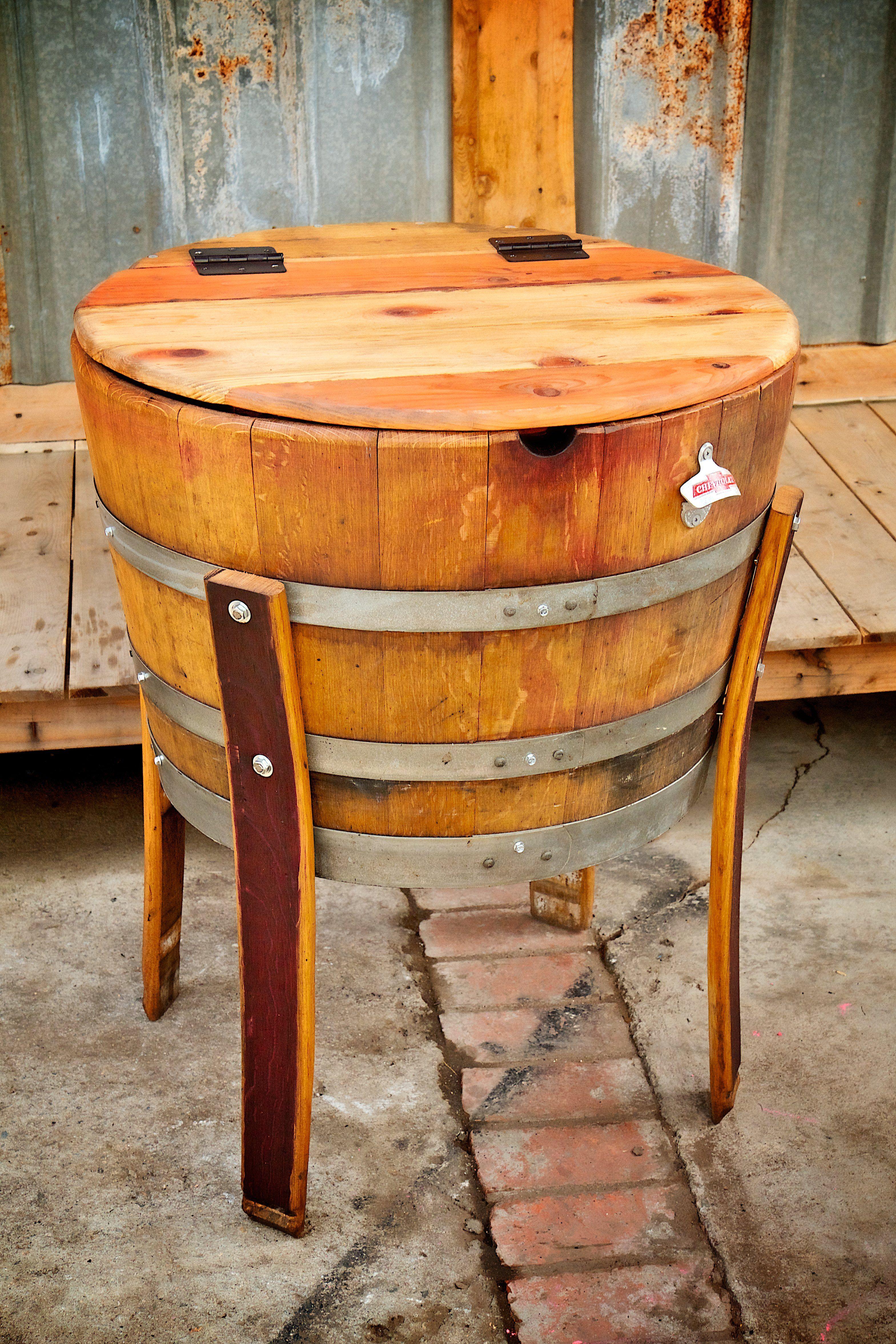wooden beer barrel chairs wheelchair uae half full beverage cooler rustic weddings
