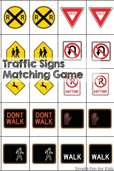 Traffic Signs Matching Game Printable Transportation Preschool