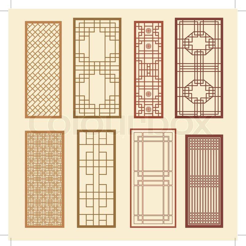 Stock vector of 39 korean old of window frame symbol sets for Old window design