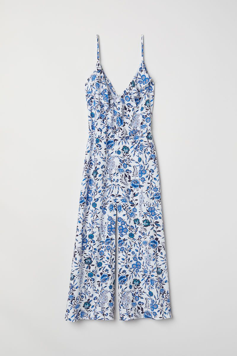 d8634deb3a5c0 Ankle-length Jumpsuit | White/blue floral | WOMEN | H&M US | Wedding ...