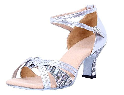 Ladies Glitter Leather Strap FlaredHeel Modern Samba Rumba Dance Shoes 7 Silver *** Details can be found by clicking on the image.