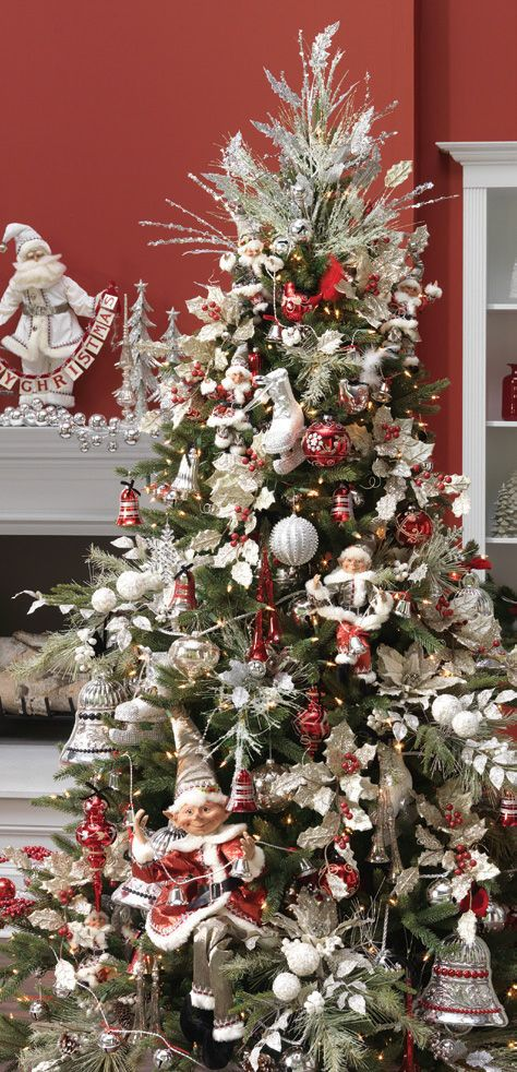Silver Bells Christmas Decorations Decorated Christmas Tree Photo Gallery  Raz Silver Bells