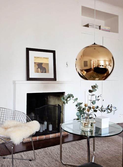 Tom dixon light pendant home decor livingroom home for Bronze living room ideas