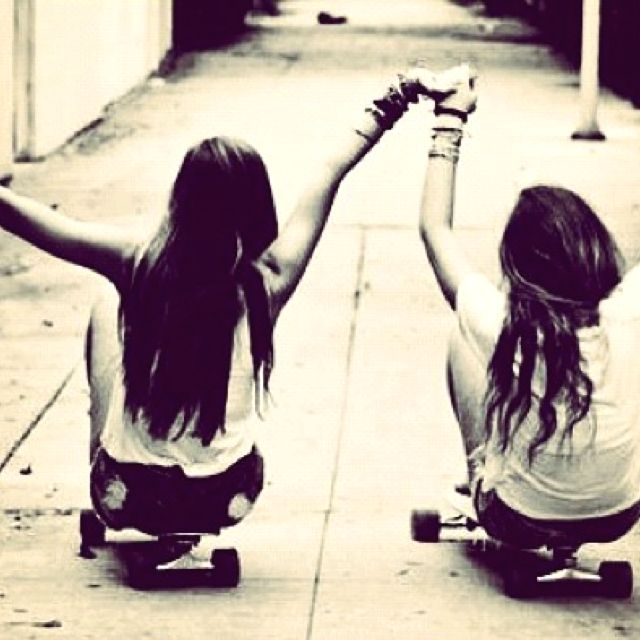 #best friends #photography #holding hands #hipster #skaters #longboard #love